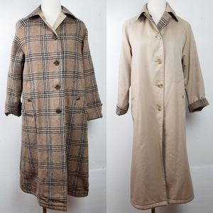 Burberrys Vintage Reversible Wool Plaid Trench
